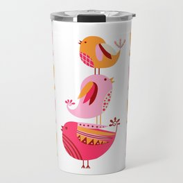 Happy Pink And Orange Birds And Blooms Travel Mug