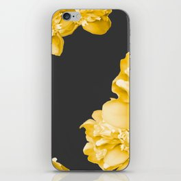 Yellow Flowers On A Dark Background #decor #society #homedecor iPhone Skin