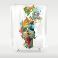 black Shower Curtains featuring Dream Theory by Archan Nair