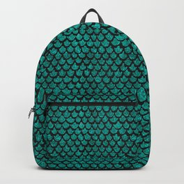 Mermaid Glam // Turquoise Glitter Watercolor Scales on Charcoal Chalkboard Backpack
