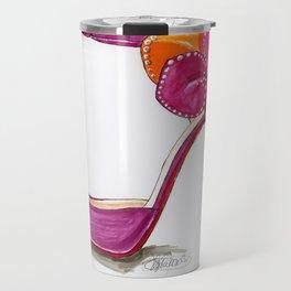 Pink Satin Rose Sandal Fashion Illustration Travel Mug