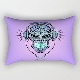 Blue and Purple DJ Sugar Skull with Headphones Rectangular Pillow