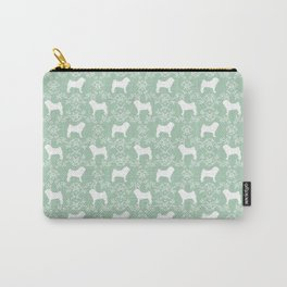 Pug silhouette florals mint pattern for pug dog lover pet pattern gifts Carry-All Pouch