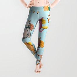 Cute and Whimsical Horse Pattern on Light Blue Leggings