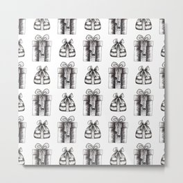 Black And White Christmas Objects Decor Metal Print