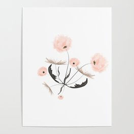 Sweet dandelions in pink - Floral Watercolor illustration with Glitter Poster