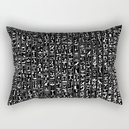 Hieroglyphics B&W INVERTED / Ancient Egyptian hieroglyphics pattern Rectangular Pillow