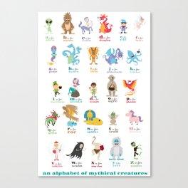 An Alphabet of Mythical Creatures Canvas Print