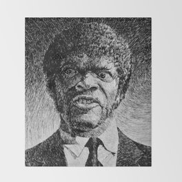 Jules Winnfield Portrait  Samuel L Jackson Pulp Fiction Throw Blanket