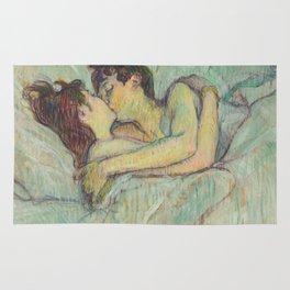 """Henri de Toulouse-Lautrec """"In Bed: The Kiss"""" Rug"""