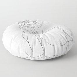 Minimal Line Art Woman with Flowers II Floor Pillow