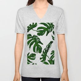 Simply Tropical Palm Leaves in Jungle Green Unisex V-Neck