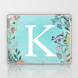 Personalized Monogram Initial Letter K Blue Watercolor Flower Wreath Artwork Laptop & iPad Skin