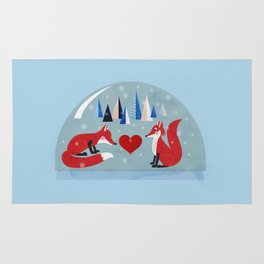 Christmas foxes in love Rug