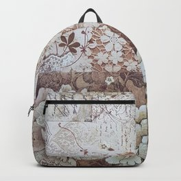 Rustic vintage ivory brown lace floral typography Backpack