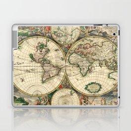 Old map of world (both hemispheres) Laptop & iPad Skin