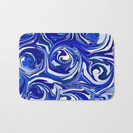 China Blue Paint Swirls Bath Mat