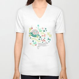 Spring Pattern of Bunnies with Turtles Unisex V-Neck