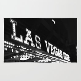 Vintage Las Vegas Sign - Black and White Photography Rug