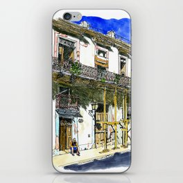 Man Sitting in Front of His House, Habana Vieja, Cuba iPhone Skin