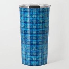 Ocean Blue and Pale Velvety Gingham Plaid Texture Travel Mug