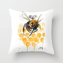 Clockwork Bee III Throw Pillow
