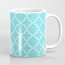 Classic Quatrefoil pattern, turquoise blue Coffee Mug