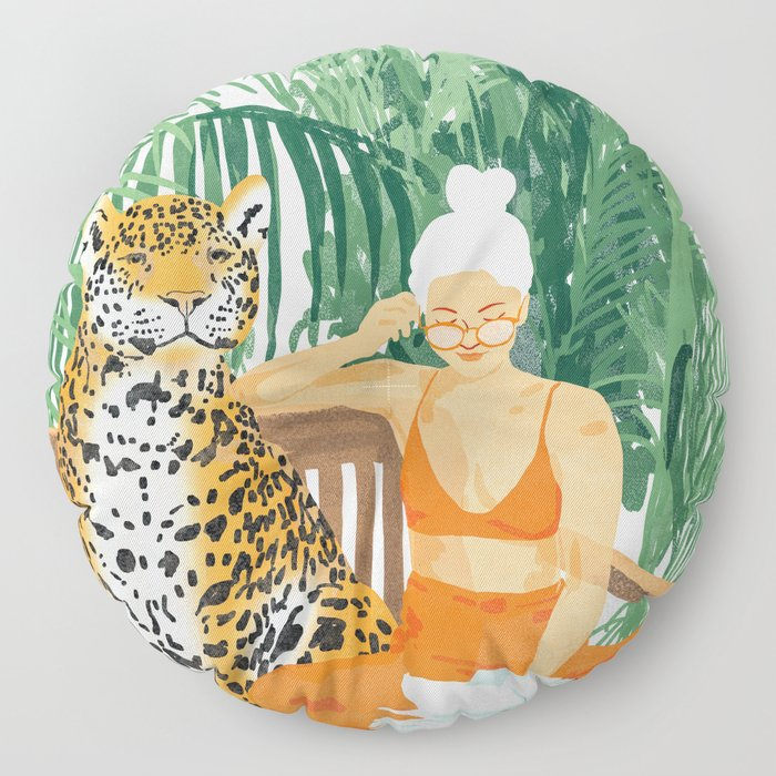 Jungle Vacay #painting #illustration Floor Pillow