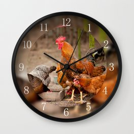 Rhode Island Red chickens eating Wall Clock