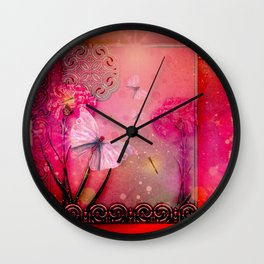 Wonderful butterflies with dragonfly Wall Clock