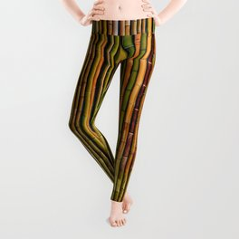 Bamboo fence, texture Leggings