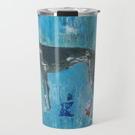 Greyhound Dog Abstract Painting Travel Mug
