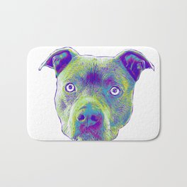 Blue Pitbull dog Bath Mat
