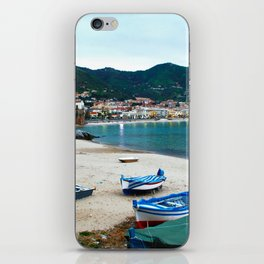 Boats on Beach at Cefalu Italy iPhone Skin