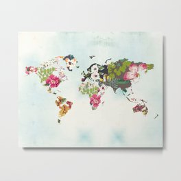 World Map Art Print, Poster, Tropical Home Decor, Floral, Teal Blue Metal Print