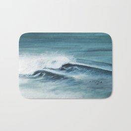Surfing big waves Bath Mat