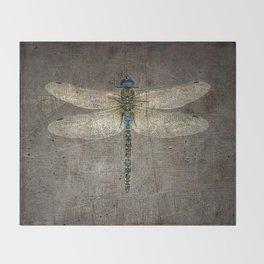Dragonfly On Distressed Metallic Grey Background Throw Blanket