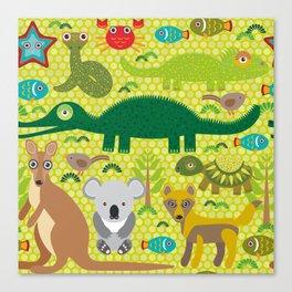 Animals Australia snake, turtle, crocodile, alliagtor, kangaroo, dingo Canvas Print