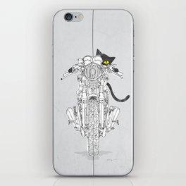 Cat Chicken Motorcycle Art Print iPhone Skin