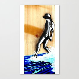 Surfer girl banksy style Canvas Print
