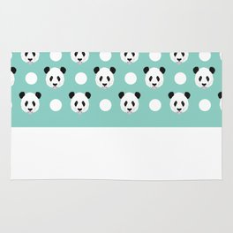 Panda polka dots pattern print minimal trendy kids design pillow cell phone cute panda cub character Rug