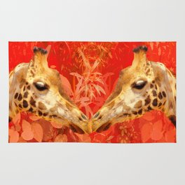Face to face - beautiful giraffes - love is in the air Rug