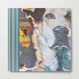 Few flowers as a tribute to the Loukanikos dog from Elisavet Metal Print