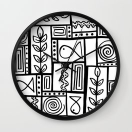 Fishes Seaweeds and Shells - Black and White Wall Clock