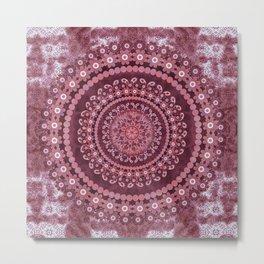 Boho Rosewood Mandala Metal Print