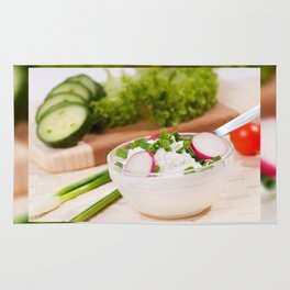Glass bowl of cottage cheese Rug