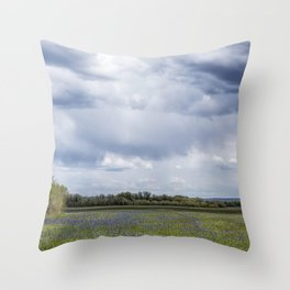 Field of Camas and Dandelions, No. 2 Throw Pillow