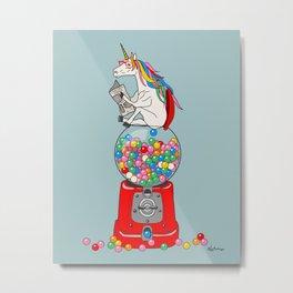 Unicorn Gumball Poop Metal Print