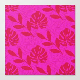 Monstera Leave Red In Red Pattern Canvas Print
