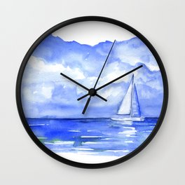 Sailboat on the Ocean Watercolor Wall Clock